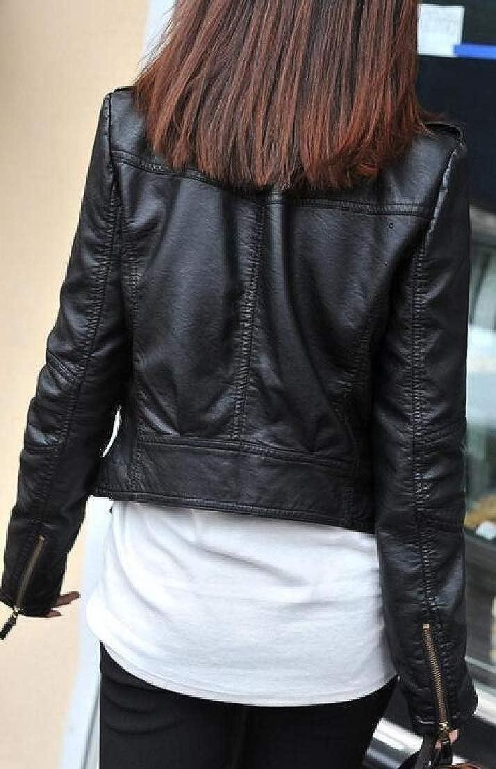 Generic Womens Long Sleeve Faux Leather PU Moto Biker Short Coat Jacket