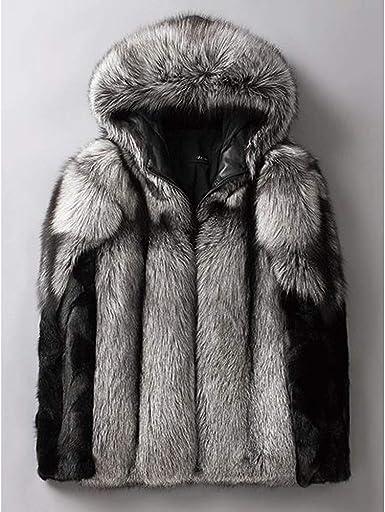 2019 Men Warm Fox Fur Coat Long Jacket Faux Fur Collar Outwear Oversized Ovecoat