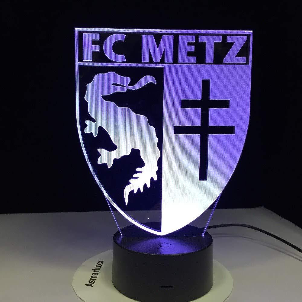 Lixiaoyuzz Veilleuses 3D Football Lampe Fc Metz Club Logo 7 Table Color/ée Led Meilleur Cadeau Pour Enfants Papa Amis Cadeau DAnniversaire