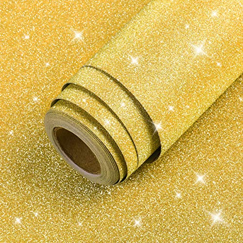 """LaCheery 12""""x160"""" Gold Glitter Wallpaper Stick and Peel Gold Contact Paper Decorative Self Adhesive Vinyl Sheets for Cricut Sticker Paper Christmas Decor Letters Mugs Craft Project Gift Wrapping Paper"""