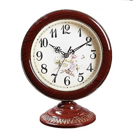 NNIU Reloj de Mesa Estilo Europeo Retro Mudo Dormitorio Decorativo Escritorio Reloj decoración del Reloj (