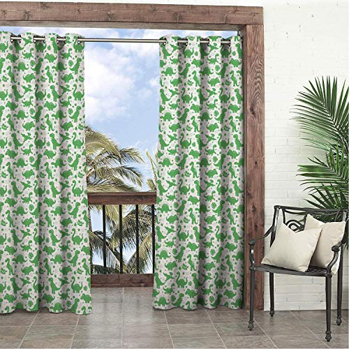 - Garden Waterproof Curtains Dinosaur Silhouette Nursery Themed Sweet Cartoon Dino Heart Leaves and Stars Rock Green White Porch Grommet Privacy Curtain 120 by 96 inch