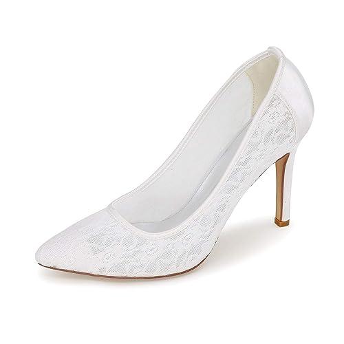 CCBubble Stiletto - Zapatos de Fiesta Formales de Encaje para Novia ... 00c0c782a27