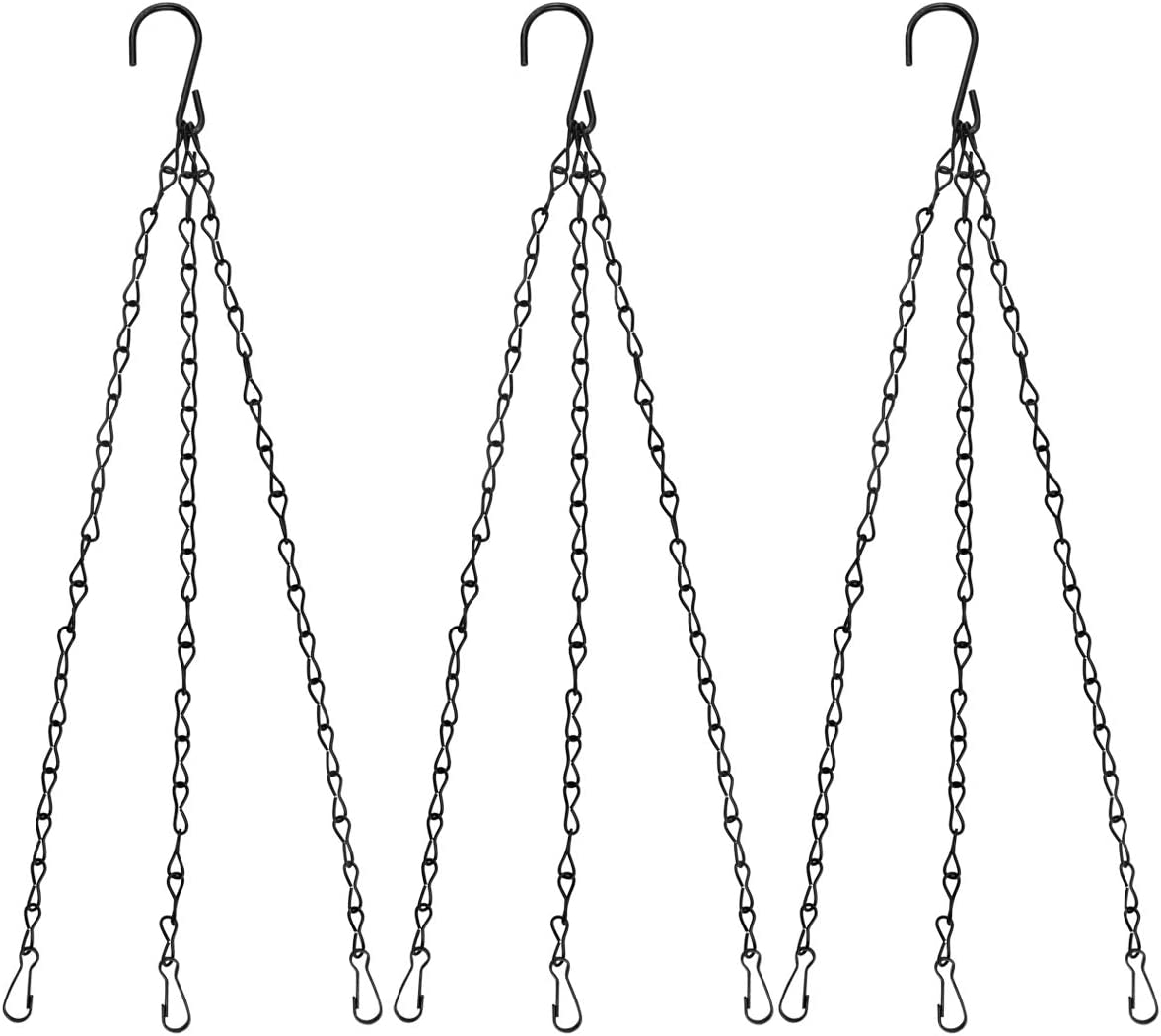 Plant Hanging Chains 3 Point Holder Anti-Rust Paint Black Chain for Bird Feeders Planters Lanterns Billboard Wind Chimes Flower Pot Garden Outdoor Use