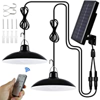 Solar Pendant Light with Remote Control, Waterproof Dimmable Dual Head Solar Shed Light for Barn Farm Garden Yard Patio…