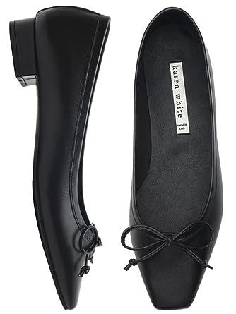 6d21ef56094c5 Amazon.com: KAREN WHITE Women's Mary Jane Flats Shoes Pointed Toe ...