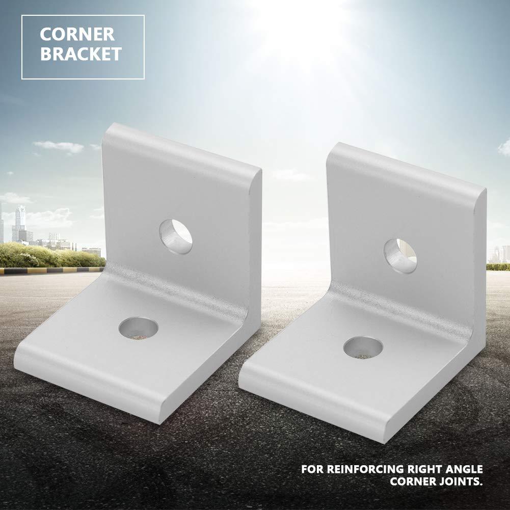 1515 2020 3030 4040 4545 Junta de conexi/ón de soporte de /ángulo de esquina de conector para perfil de aluminio Soporte de esquina L Silver 4545