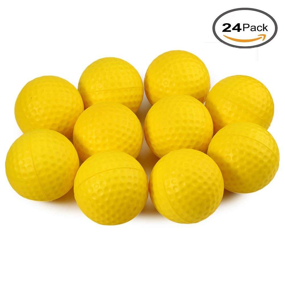 Kofull - Pelotas de golf de espuma de poliuretano para practicar deportes al aire libre, para entrenamiento, pelotas suaves, yellow 24pcs: Amazon.es: ...