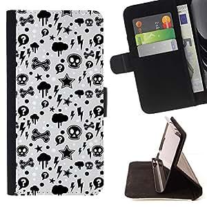 Momo Phone Case / Flip Funda de Cuero Case Cover - Wallpaper trueno Relámpago Skulls Estrella - Sony Xperia Z1 L39