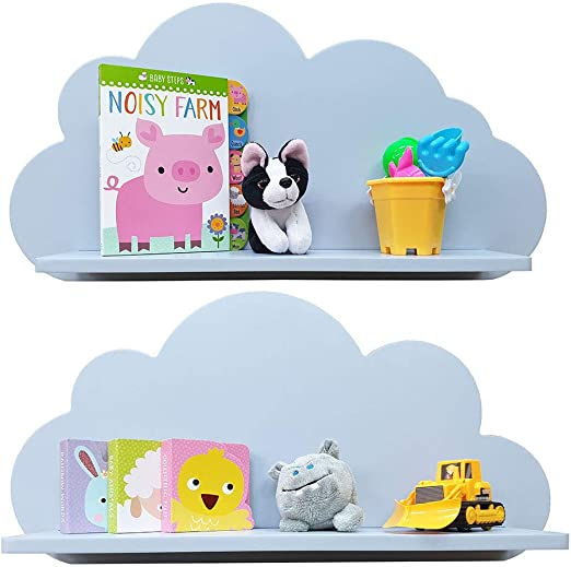 Estantes en la nube disponibles en blanco, rosa, azul o gris para niños, bebés, guarderías y dormitorios (2 estantes) estante flotante - GRIS