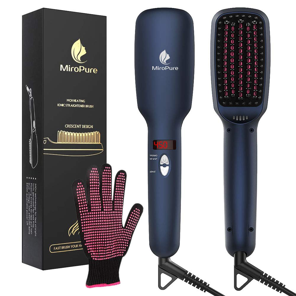 MiroPure Upgraded Ceramic Ionic Hair Straightener Brush for All Hair Types with Five Heat Settings + LED Display+Auto Shut-Off Function for Straightening Hair Beard and Adding Shine