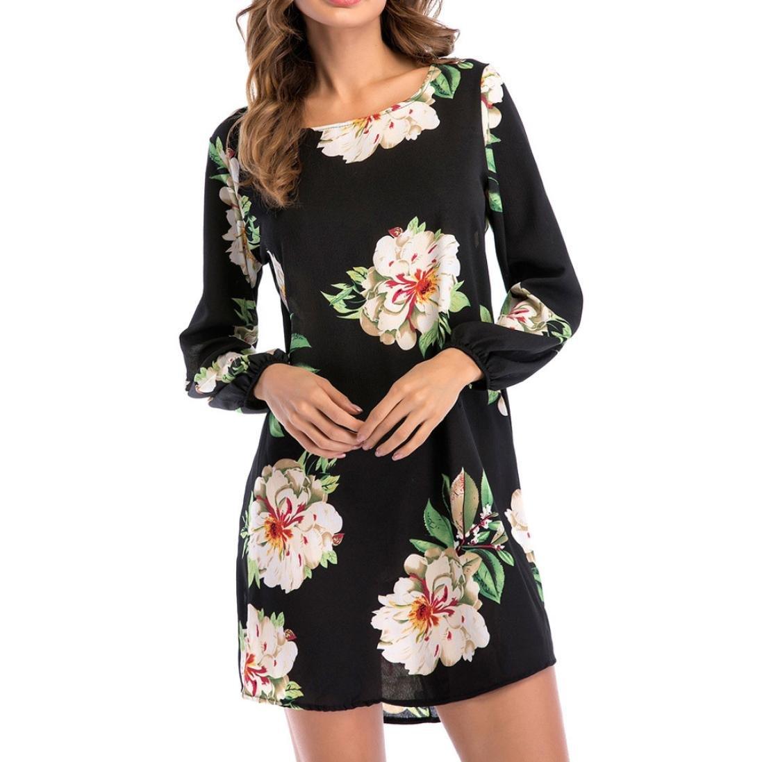 OHQ Frauen Dress Sommerkleider Vintage Boho Mini Ärmelloses Beiläufiges Strandkleid Blumenkleid Abendkleid Floralen Druck Minikleid Partykleid Cocktailkleid