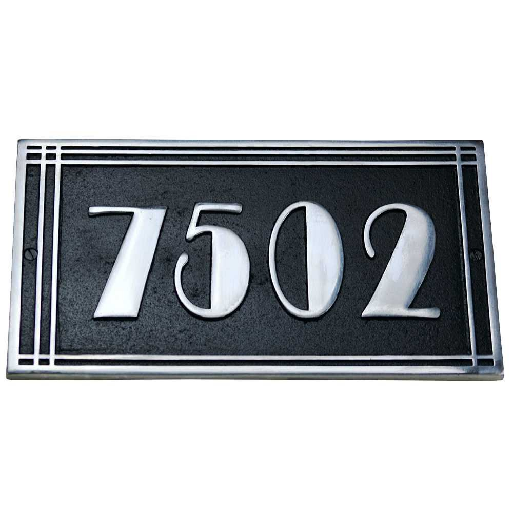 Art Deco Style House Address Plaque in Solid Cast Aluminium. This Hand Made in England Plaque is Created Especially for You to Your Specifications (310mm x 190mm)