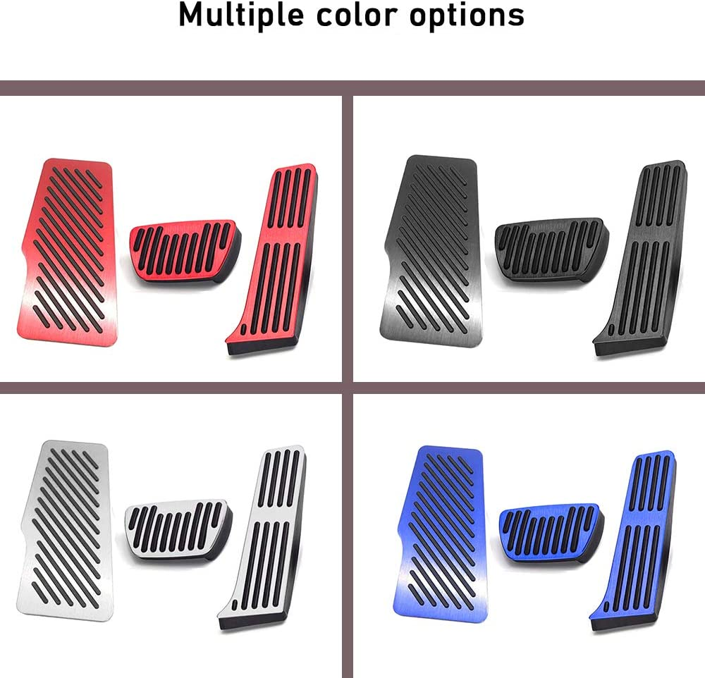 XITER 3PCS No Drill Anti-Slip Aluminum Gas Brake Pedal Cover Foot Pedal Pads Rest Pedal Cover kit For Toyota Camry 2018-2020 SILVER