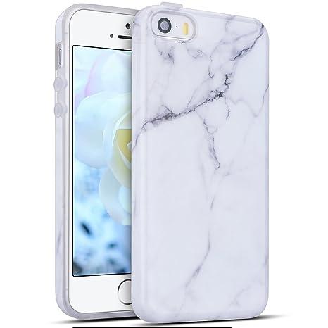 Funda iPhone SE, Carcasa iPhone 5S Silicona, RosyHeart Mármol Patrón Ultra Delgado TPU Goma Funda para iPhone SE / 5 / 5S Ultrafina Suave Opaco Gel ...