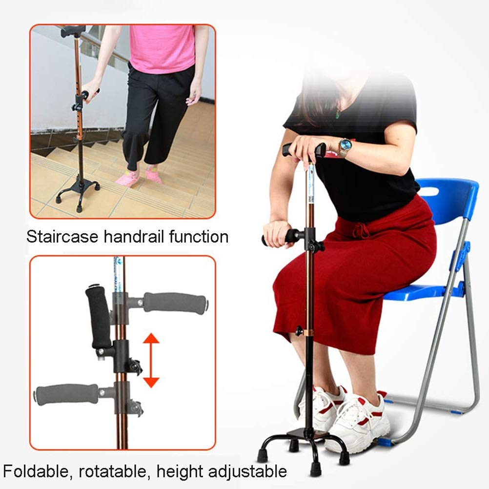 FGHJUT Disabled Standard Walking Stick 10 Adjustable Quad Cane Lightweight for Men Women and Elderly Walking Cane with Double T Handle Easy Sit-Stand Cane for Stability by FGHJUT