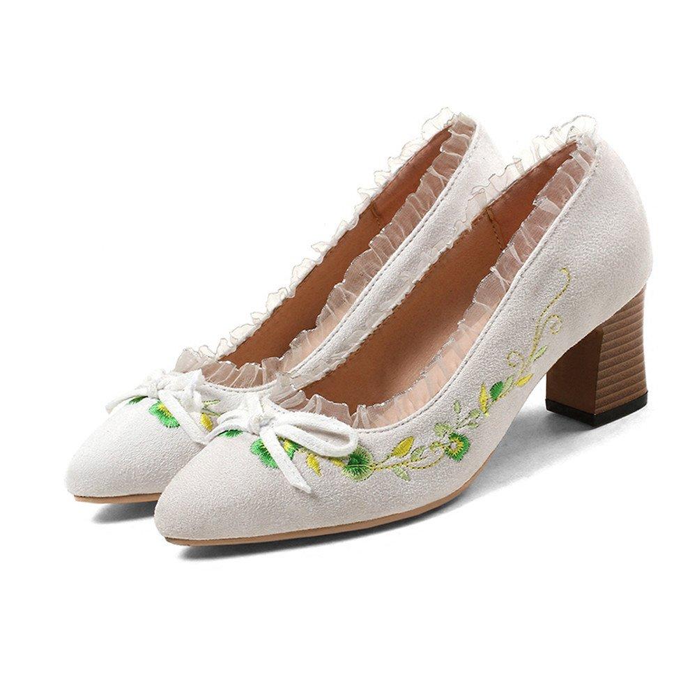 GTVERNH-Frühling Flachen Mund Einzelne Schuhe High Heels Mit Mit Mit Dicken 6 cm Schuhe Bogen Kunst Retro Süß Bestickt Schuhe 9d4a7f