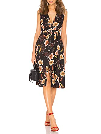 d254bf0be52 Glamaker Women's Summer Bohemian Sleeveless V Neck Floral Button Down High  Waist Party Dress Black