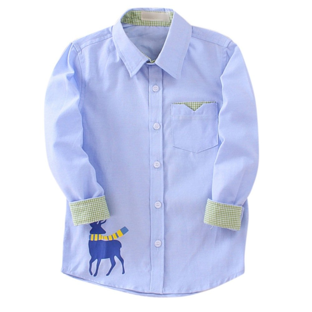 Loveble Boys Long Sleeve//Shorts Sleeve Button-up Shirt with Cute Animal Pattern for Summer and Autumn by