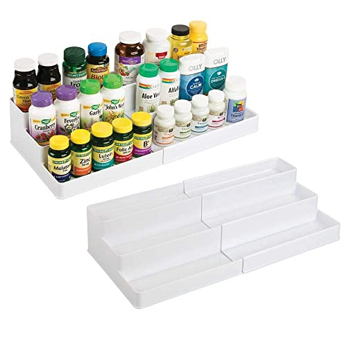 mDesign Adjustable, Expandable Plastic Vitamin Rack Storage Organizer Tray for Bathroom Vanity, Countertop, Cabinet – 3 Shelves – Holds Supplements, Medication – 2 Pack – White