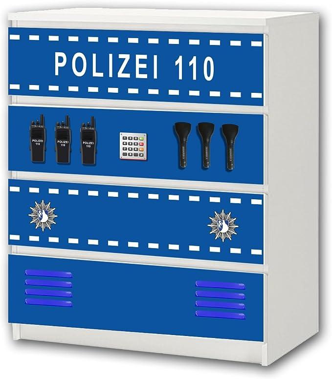 Policía pegatina de muebles | M4K21 | Pegatinas adecuadas para la cómoda MALM con 4 compartimentos de IKEA (el mueble no es incluido) | STIKKIPIX: Amazon.es: Hogar