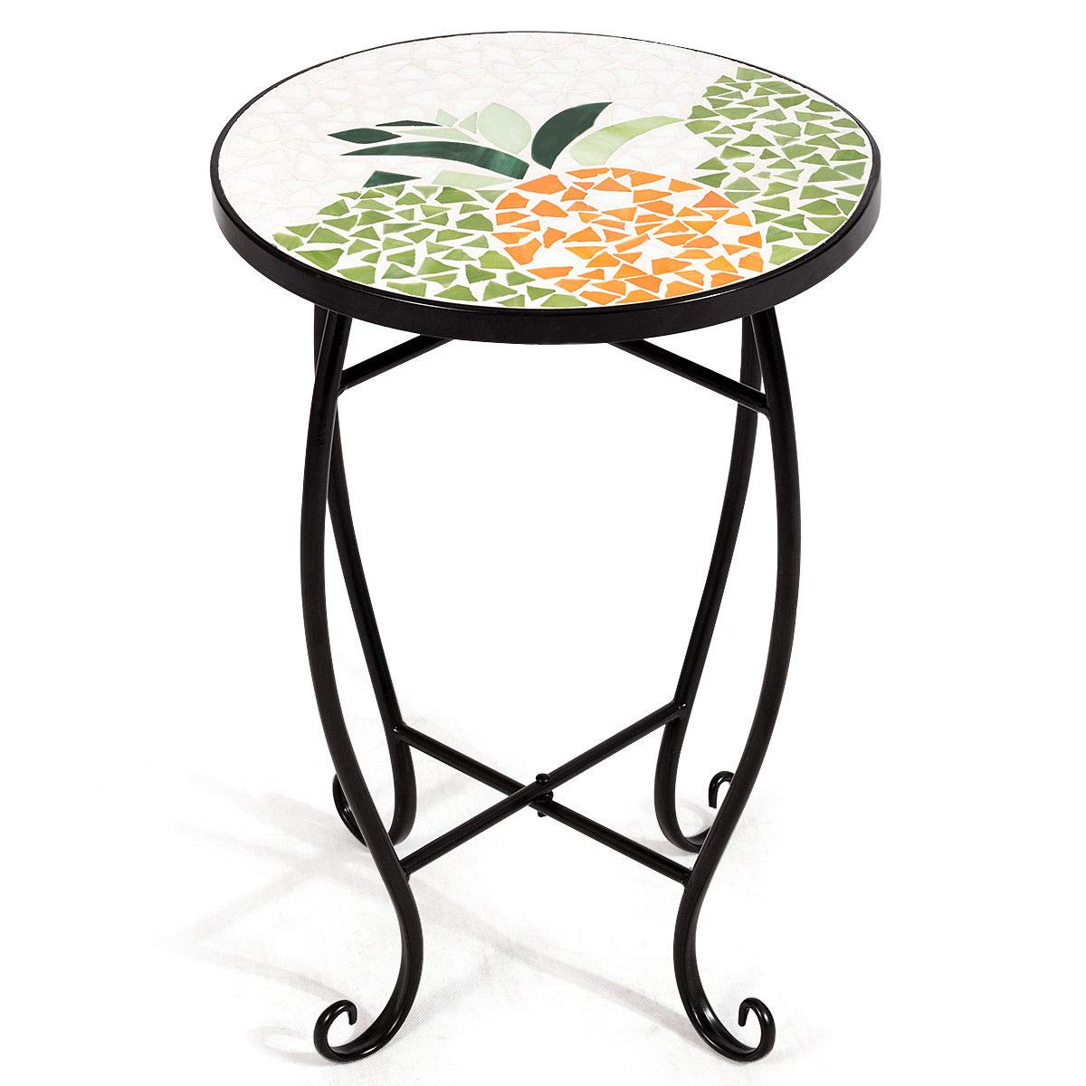 "NanaPluz 21"" H Yellow Round Plant Stand Steel Scheme Garden Decor Display Accent Table Curved Legs Pineapple Mosaic Inlay Top with Ebook"