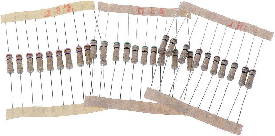 zhiounny 300Pcs Resistor Kits 1W 5/% 0.1-750 Ohm Carbon Resistor 30 Values Resistance Set