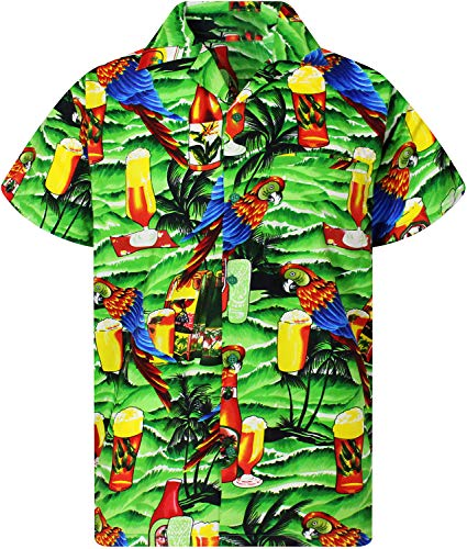 - King Kameha Funky Hawaiian Shirt, Shortsleeve, Parrot Beer, Green, L