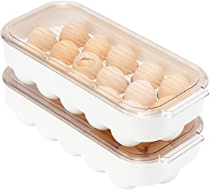blitzlabs Refrigerator Egg Holder Stackable Egg Storage Box Coverd Egg Tray Egg Organizer Container Bins Egg Storage With Lid, Fridge Portable Egg Case,Set of 2