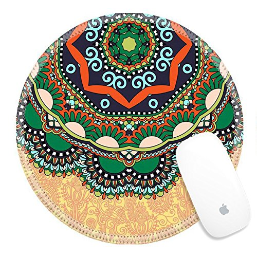Price comparison product image Luxlady Round Gaming Mousepad 32629993 floral round pattern in ukrainian oriental ethnic style for your greeting card or invitation template design for card vintage lace doily vector illustr