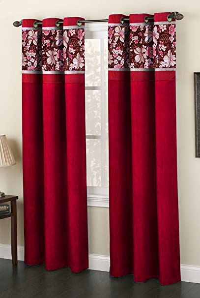 Homefab India Fusion 2 Piece Polyester Curtain Set - 7ft, Maroon
