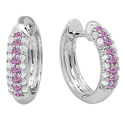 Dazzlingrock Collection 10K Round Gemstone White Diamond Ladies Pave Set Huggies Hoop Earrings, White Gold