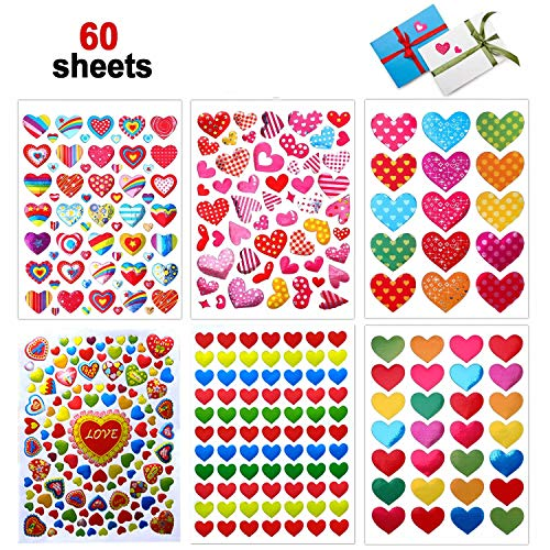 Valentines Heart Stickers, 60 Sheets Valentine's Day Love Decorative Stickers for Anniversaries, Party, Wedding (Colorful)]()