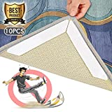 Rug Grippers for Hardwood Floors – 10pcs Anti Curling Rug Gripper,Anti Slip Carpet Gripper w/Reusable Gripper Tape,Non Slip Rug Pad for Rugs,Ideal Rug Stopper for Tile/Laminate Floors by BKING-BOX