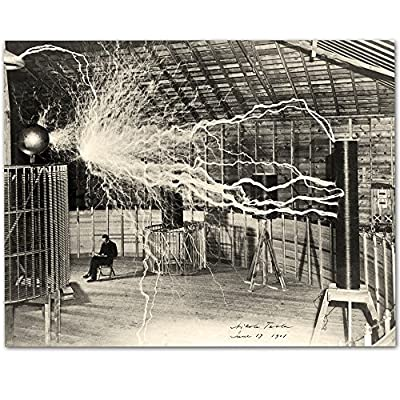 """Lone Star Art Nikola Tesla's Lightning Equipment - 11x14 Unframed Print - HOW FUN - These prints are guaranteed to be a great addition to any room READY TO FRAME - You get one 11"""" x 14"""" print. 11"""" x 14"""" frames are super easy to buy here on Amazon or at any department or craft store. Choose the frames that work with your decor. MADE TO LAST - The prints are printed on Fuji Crystal Archive paper for a lifetime of enjoyment. - wall-art, living-room-decor, living-room - 618VGbNkGfL. SS400  -"""