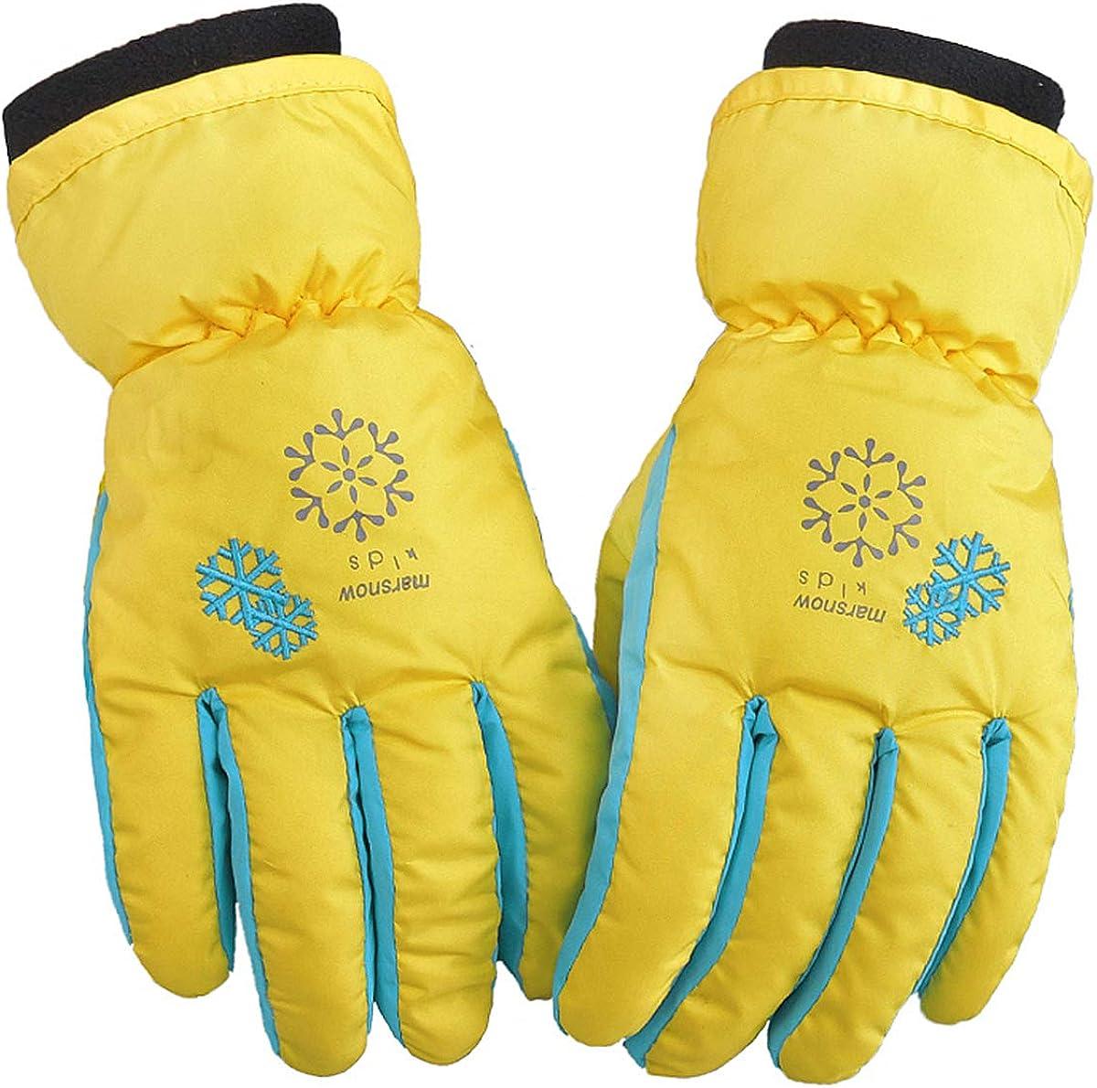 Grau-1 Yellow wang Kinder Skihandschuhe wasserdichte und Winddichte Schneehandschuhe Warme Handschuhe Winterhandschuhe f/ür 6-11 Jahre Jungen M/ädchen Skifahren Wandern Radfahren
