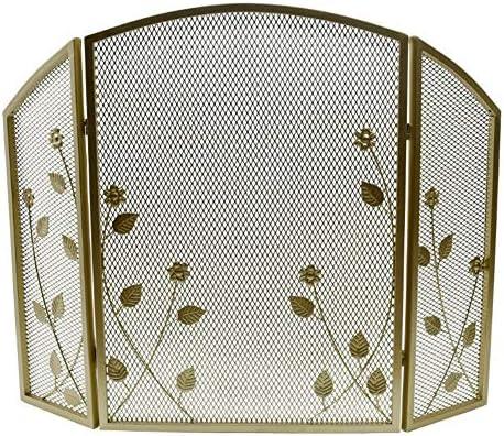 暖炉スクリーン 3パネル 折り畳み可能 暖炉スクリーン メッシュや支店装飾が施されました、 赤ちゃん 子 ペット 安全性 防火スクリーン 暖炉/ストーブ/グリル用、 ゴールド (Color : Gold)