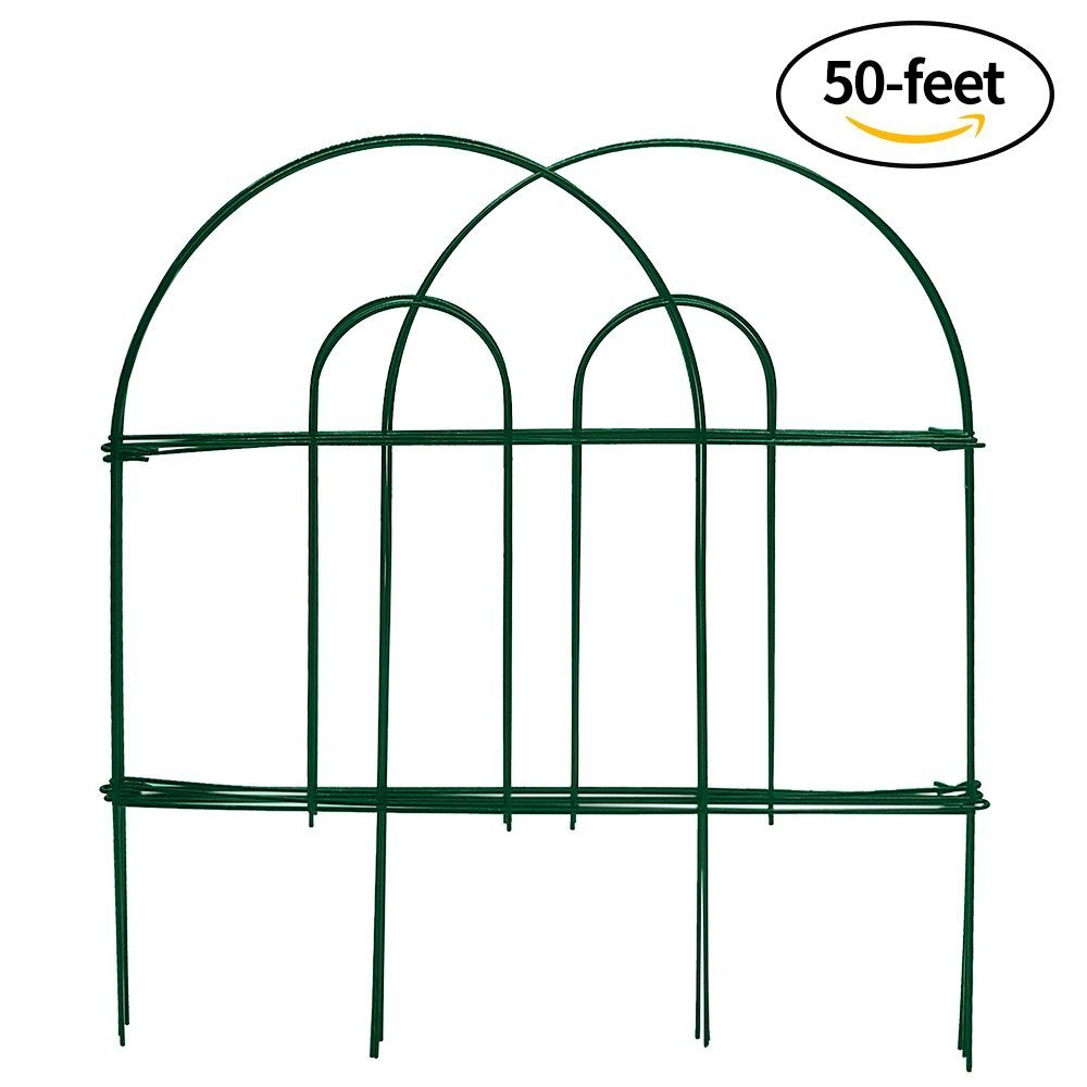 Amagabeli Decorative Garden Fence 18 in x 50 ft Rustproof Green Iron Landscape Wire Folding Fencing Ornamental Panel Border Edge Section Edging Patio Flower Bed Animal Barrier for Dog Outdoor Fences