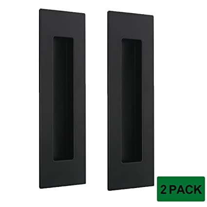 Probrico 2Pcs Black Rectangular Recessed Flush Handles 6in X 2in Sliding  Door Pulls Stainless Steel