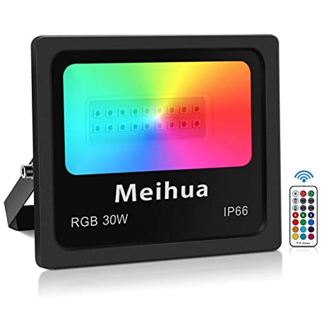 Foco LED RGB 30W con Control Remoto, MEIHUA Luz de 13 Colores Iluminación, Lámpara Colores con 4 Modos Ajustable, Exterior Impermeable para Jardín, ...