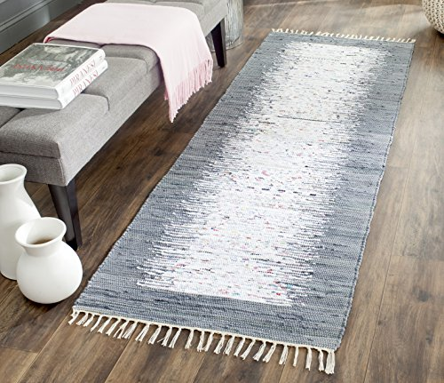 lection MTK711G Handmade Flatweave Ivory and Grey Cotton Runner (2'3