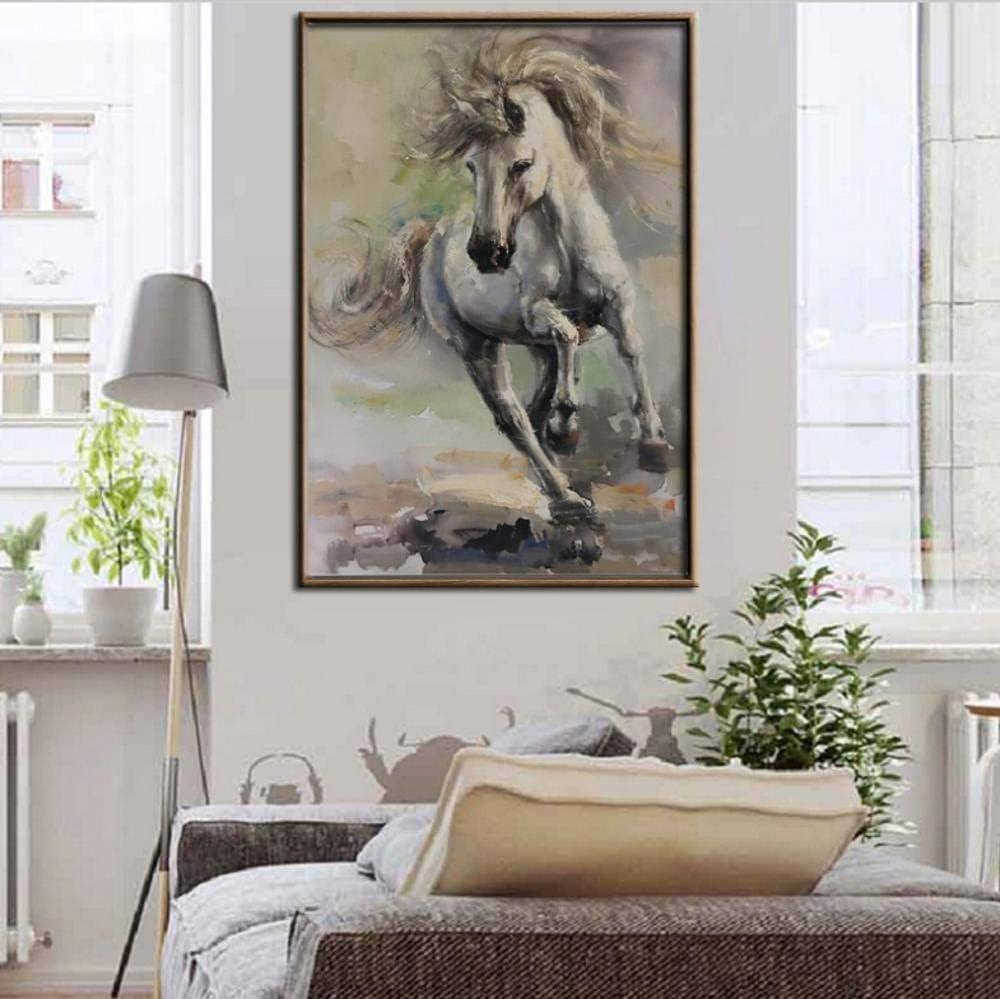Póster de caballo, moderno cuadro de pintura al óleo con impresión digital sobre lienzo, para salón, decoración de pared