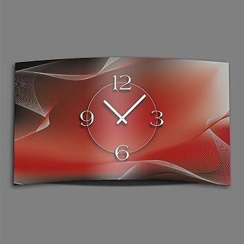 Abstrait Rouge Gris Horloge Murale En Acier Inoxydable Design
