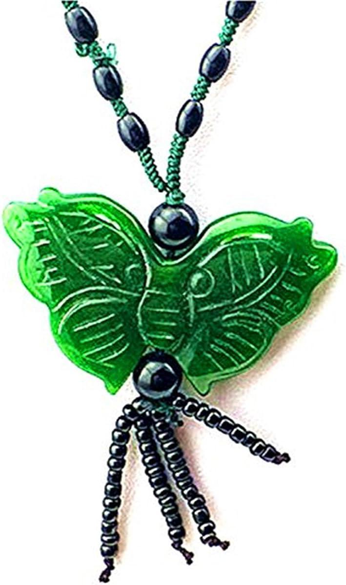 Verde Jade colgante mariposa con perlas de negro largo collar