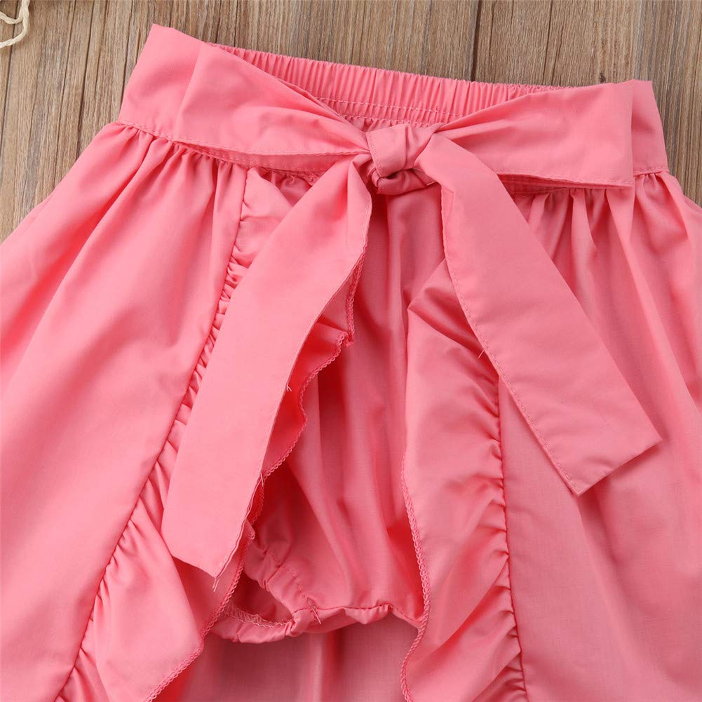 Zoiuytrg Toddler Baby Girl Princess Skirt,Kids Summer Ruffle Shorts Pants Bow Beach Dress Outfits Clothes