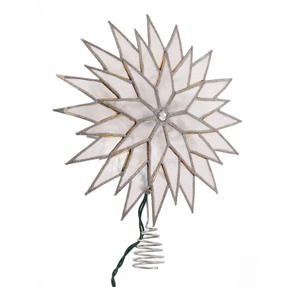 Kurt Adler Sunburst Capiz Beleuchtete Baumkrone mit silberfarbenem Glitzer-Finish 22,9 cm