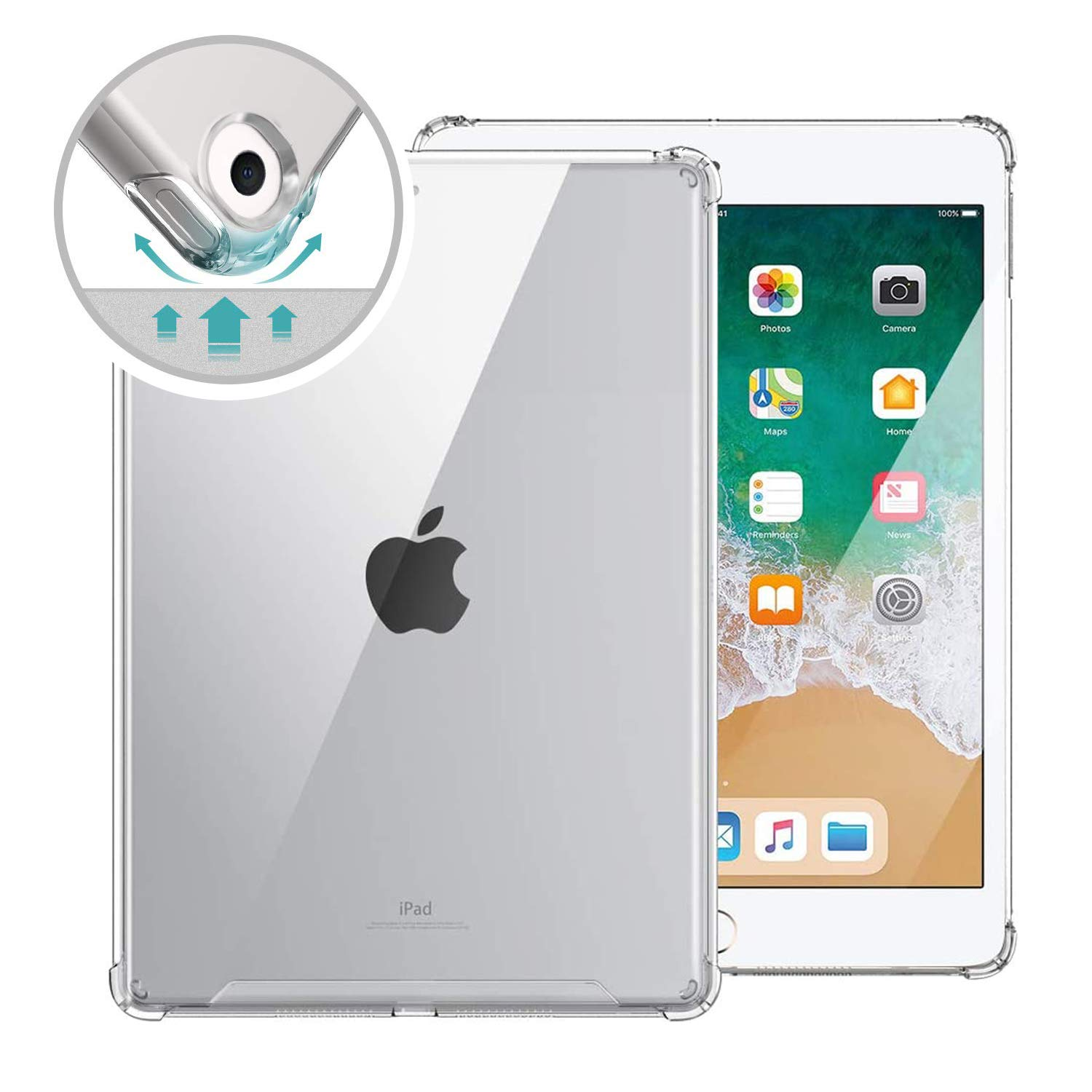 ORIbox Clear Case for iPad 6th 9.7''(2018)/ 5th 9.7''(2017)/Air 2nd 9.7''(2014)/Air 1st 9.7''(2013),Clear TPU Back Cover for iPad,9.7 inch,Clear