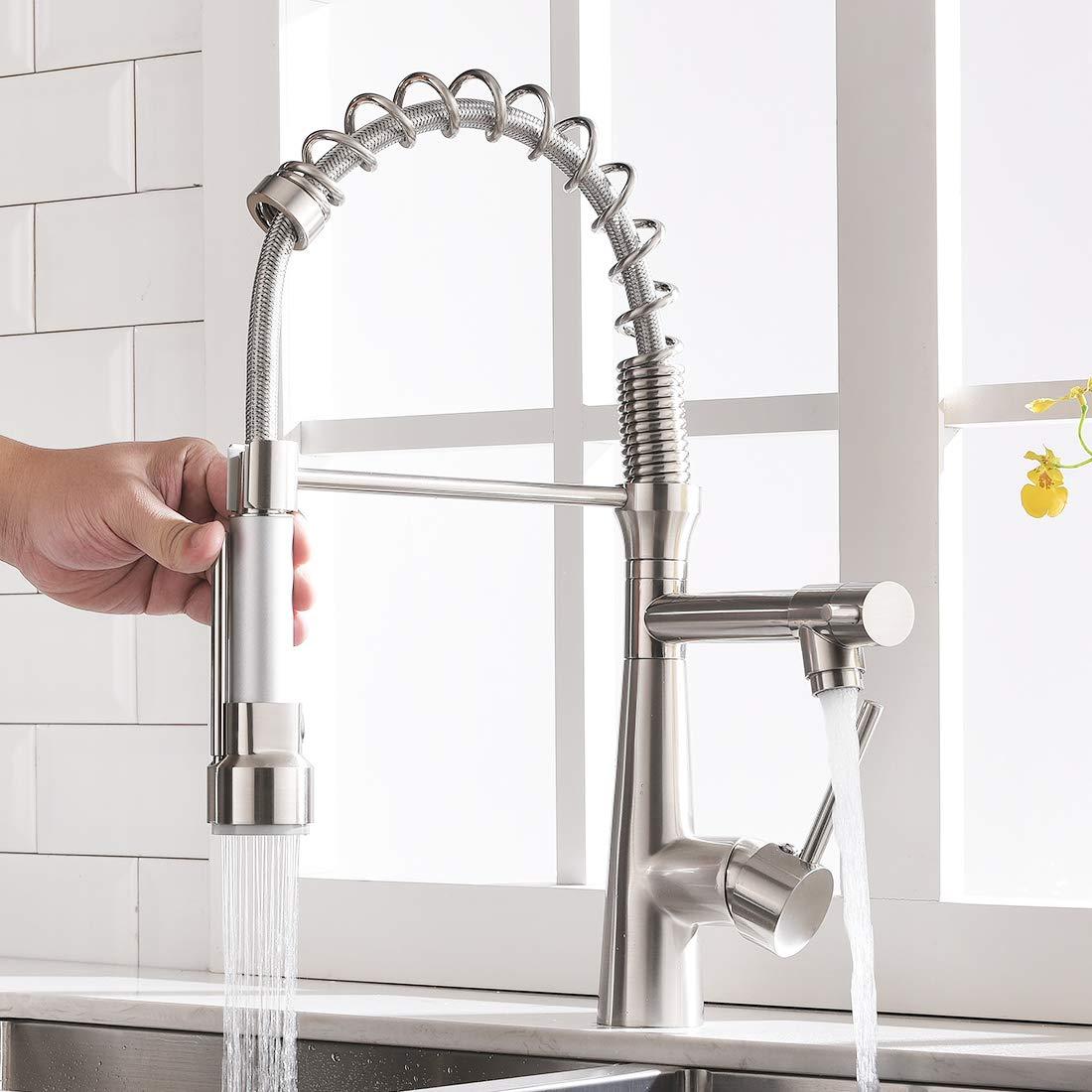 robinet et douchette extensible /à 360/° Pivotant Nickel bross/é Mitigeur monocommande et Mitigeur monocommande TIMACO Robinet de cuisine avec ressort en spirale