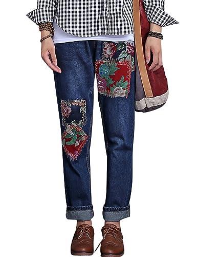 Youlee Mujer Otoño Parche Mezclilla Lápiz Pantalones con cordón Cintura Pantalones