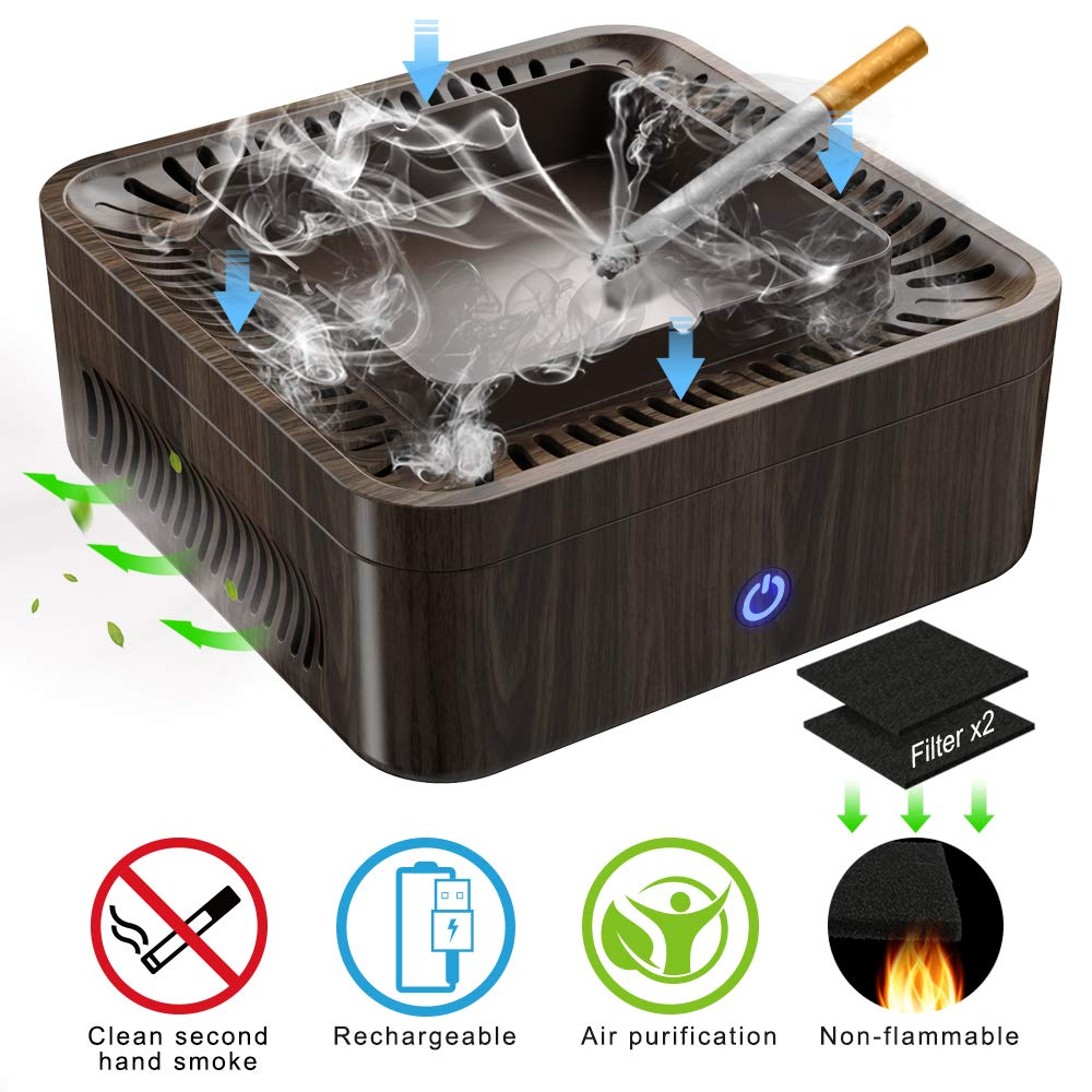 FORTGESCHE Smokeless Ashtray, Newest Multifunction Cigar Cigarette Ashtray Air Purifier USB Rechargeable for Indoor Outdoor Use at Home/Office/Car 2 Pcs Filter Nets Include(Brown)